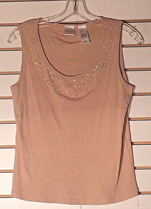 Women's Tan Embellished Ribbed Tank Top Size L  by Emma James (02172)