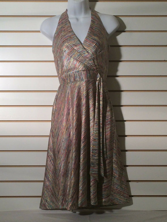 Women's Petite Pink Multi-Color Halter Dress Size XS/P by Newport News (01357)