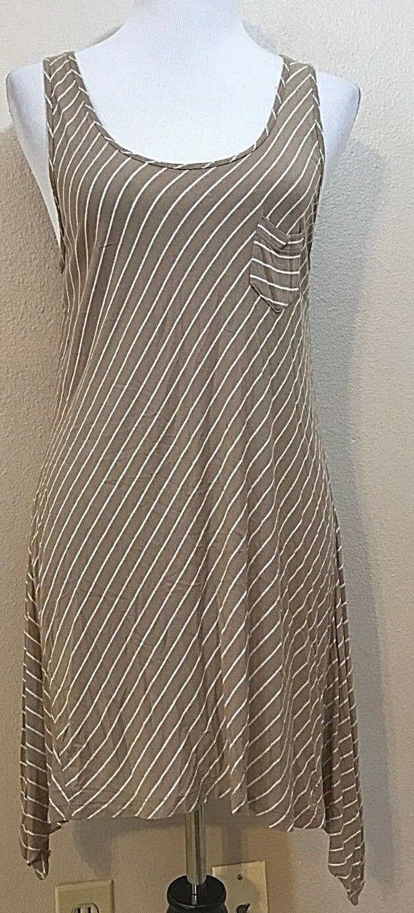 Women's Tan & White Striped Asymmetrical Dress by New York & Company (03897)