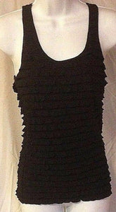 Women's Black Ruffled Tank Shirt Size S by Iris (02389)