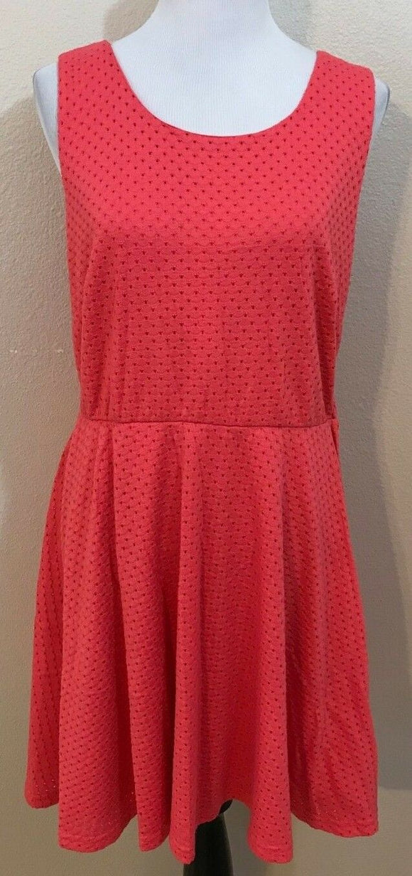 Women's Plus Size Coral Eyelet Dress Size 1X by FOREVER 21+ Plus Size (03953)