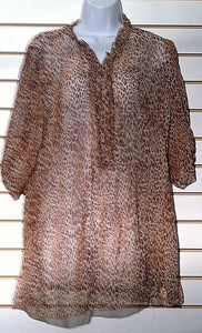 Women's Silk Animal Print Top Size XL by Eduardo Blanco (00346)