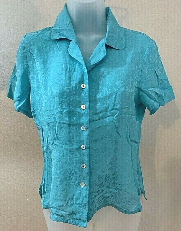 Women's Petite Silk Blue Button Down Shirt Size S by Allison Taylor Petite (04443)