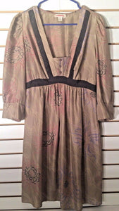 Women's Silk Tan Floral Empire Waist Dress Size 4 by Harkham (02073)