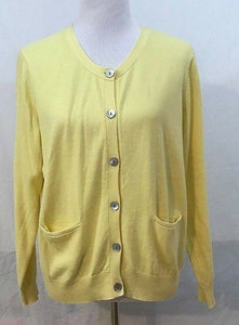 Women's Pale Yellow Button Down Cardigan Size M by Orvis (03406)