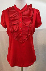 Junior's Red Ruffled Buttoned Neck Top Size XL by Suzie Rose (03553)