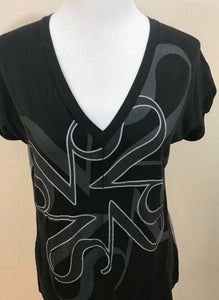 Women's Black & Gray V-Neck Design Top Size L by Simply Vera Vera Wang (03640)