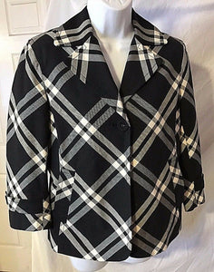 Women's Black Plaid One Button Jacket Size 6  by Talbots (02742)