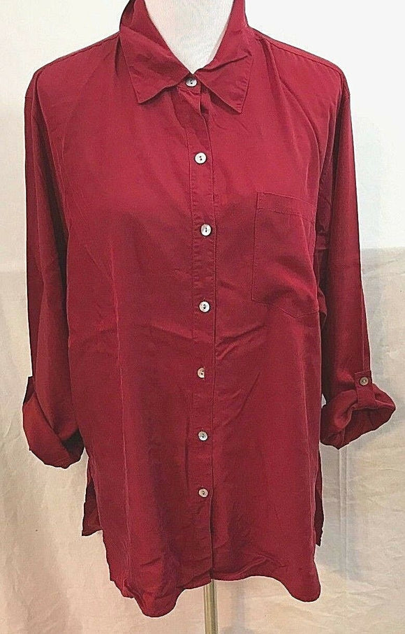 Women's Burgundy Button Down Tunic Size 3 by Chico's Design (03549)