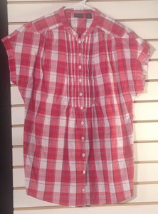 Women's Red Plaid Cotton Sleeveless Shirt Size M by Westbound (01036)