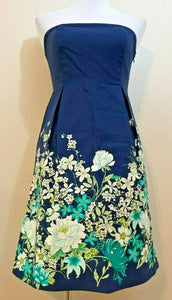 Women's Blue Strapless Empire Waist Floral Dress Size 4 by Old Navy (04130)