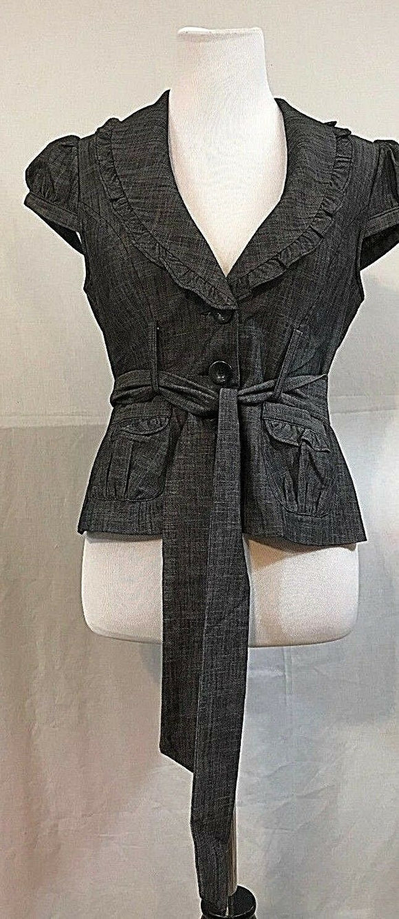 Women's Gray Ruffled Cap Sleeve Blazer Size M by Takara (03290)
