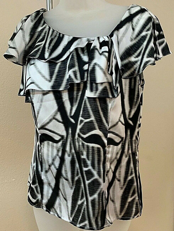 Women's Petite Black & White Ruffled Top Size PM by Worthington Petite (04427)