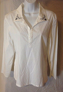 Women's White Pull Over Blouse w/Black Trim Size 10 by Soft Works (02473)