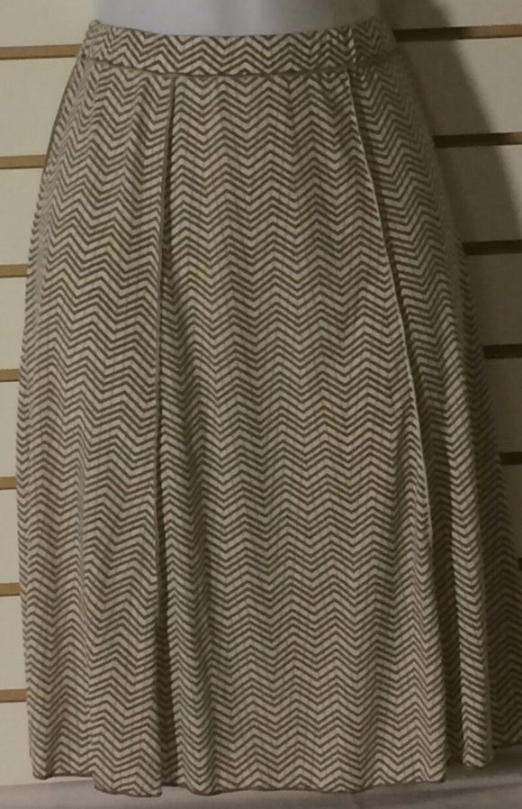 Women's Tan & Brown Striped Skirt Size S by Max Studio (01434)