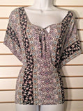 Women's Multi-Color Floral & Paisley Batwing Sleeve Top Size L (02046)