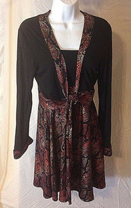 Women's Black & Orange Trim 2 PC Dress & Jacket by Nilla Shields (02472)
