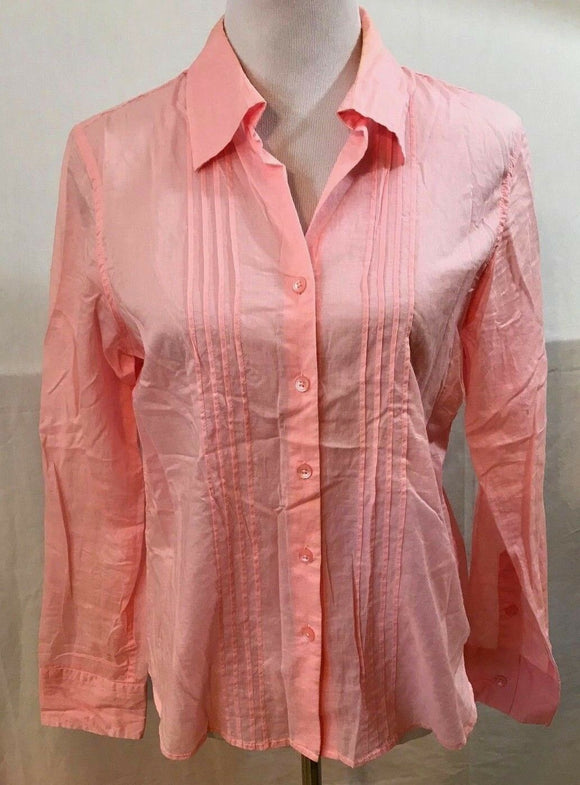 Women's Pink Sheer Button Down Shirt Size M by Talbots (03528)