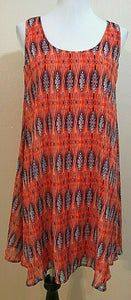 Women's Orange & Blue Designed Dress Size S by Emma & Michelle (04150)
