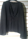 Women's Sheer Black Polka Dot Blouse Size S by Moda International (01010)