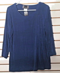 Women's New Blue Clingy Knit Top Size M by Slinky Brand (02094)