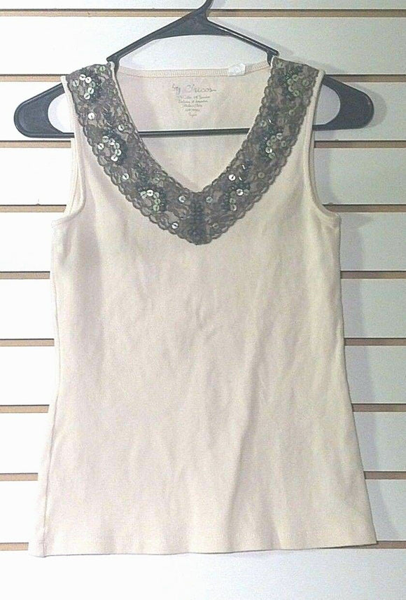 Women's Beige Embellished V-Neck Top Size 0 by Chico's (00890)