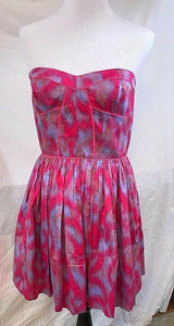 Women's New Pink & Blue Strapless Dress Size 8 by Rebecca Taylor (03056)