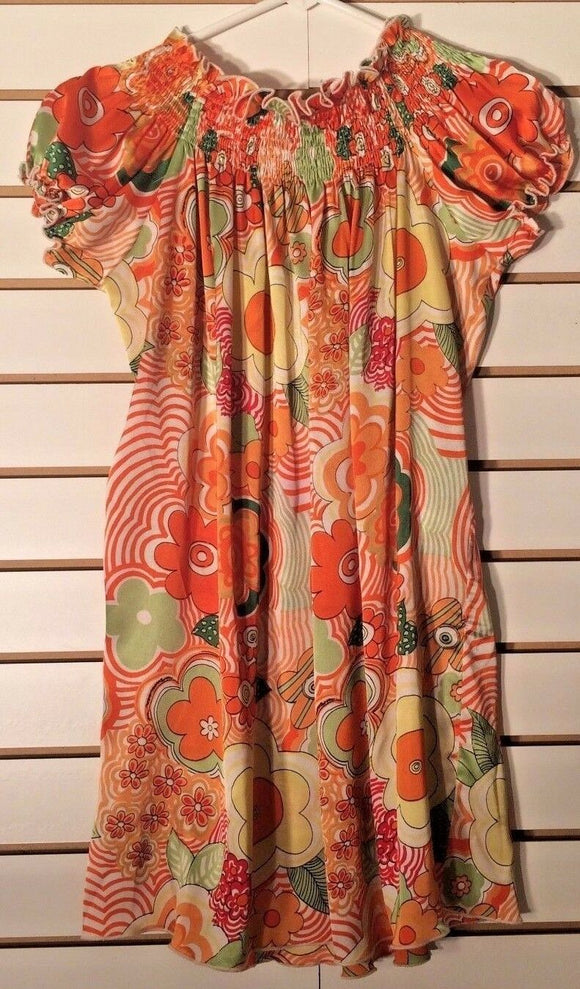 Women's Orange Multi-Color Floral Satin Feel Top-One Size by Classique (02057)