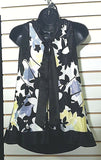 Women's Black Multi-Color Floral Top Size 6 by J.R. Nites by Caliendo (00510)