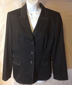 Women's Black w/White Stitched Trimmed Blazer Size 14 by Antonio Melani (02444)