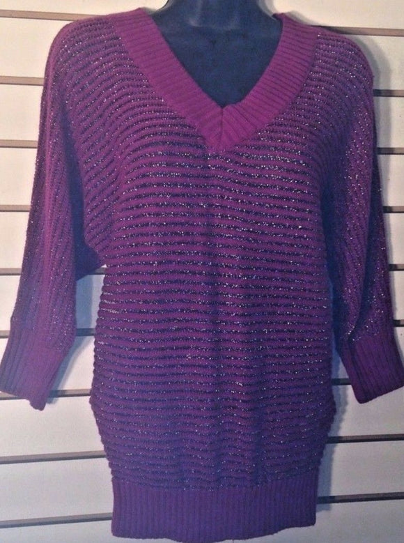 Women's V-Neck Wool Blend Purple Metallic Knit Top Size XS by Express (02010)