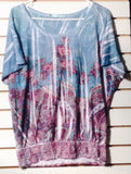 Women's Blue Floral Multi-Color Top Size M by Maurice (01273)