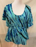 Women's Blue Multi-Color Striped Design Top Size 4 by 5148 (03095)