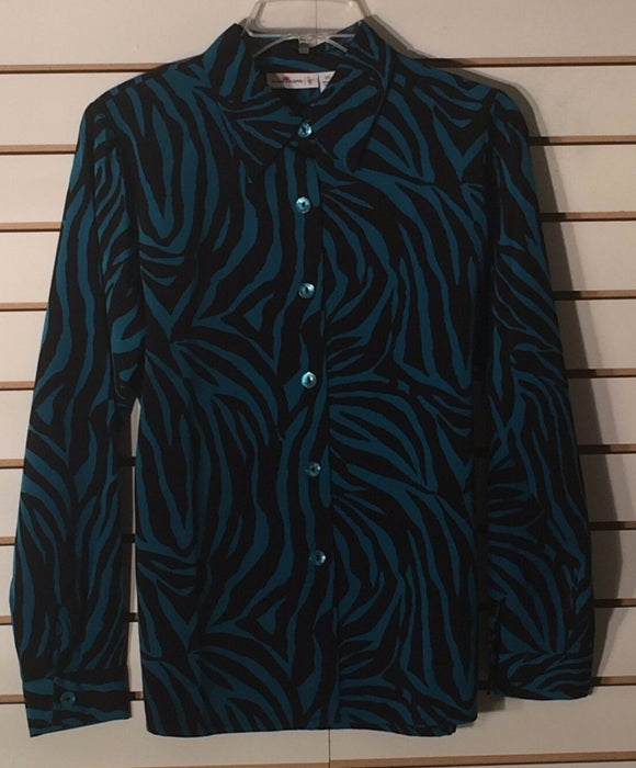 Women's Turquoise & Black Animal Print Button Down Shirt Size XS by Susan Graver (01642)