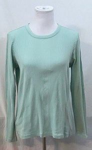 Women's Cucumber Colored Ribbed Long Sleeve Top Size 10-12 M by Lands' End (03449)