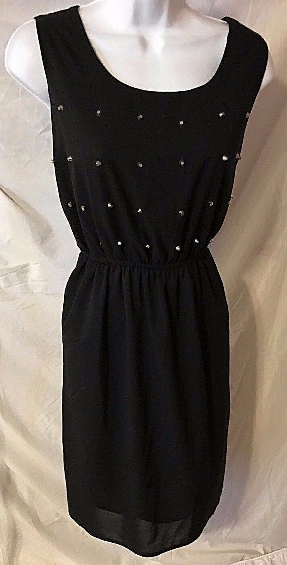 Women's Black Silk Blend Beaded Dress Size L by Ya Los Angeles (02778)