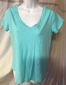 Women's Aqua V-Neck Tee Shirt Size M by Stylus (02530)