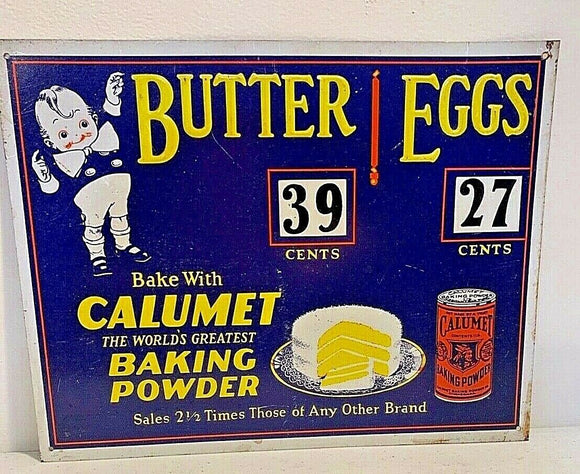 VINTAGE ANTIQUE Style Metal Sign Calamut Baking Powder 14x11