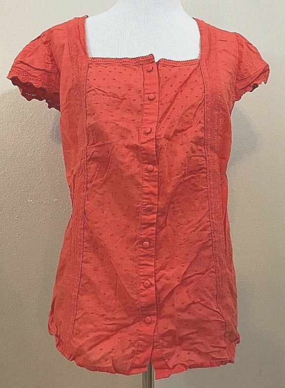 Women's Plus Size Orange Lace Embellished Button Down Blouse Size 18 by Avenue (03791)