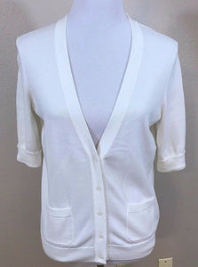 Women's White V-Neck Button Down Sweater Size M by Liz Claiborne (02988)