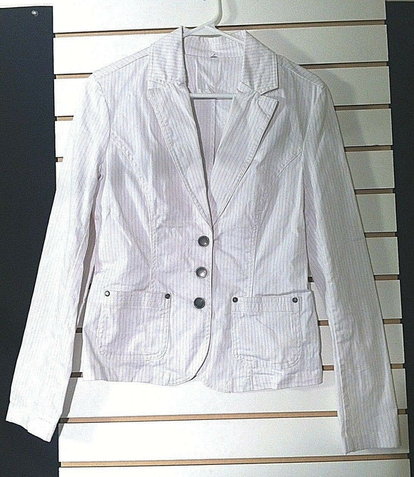 Women's White & Gray Stretch Pin-Striped Blazer Size M (00828)