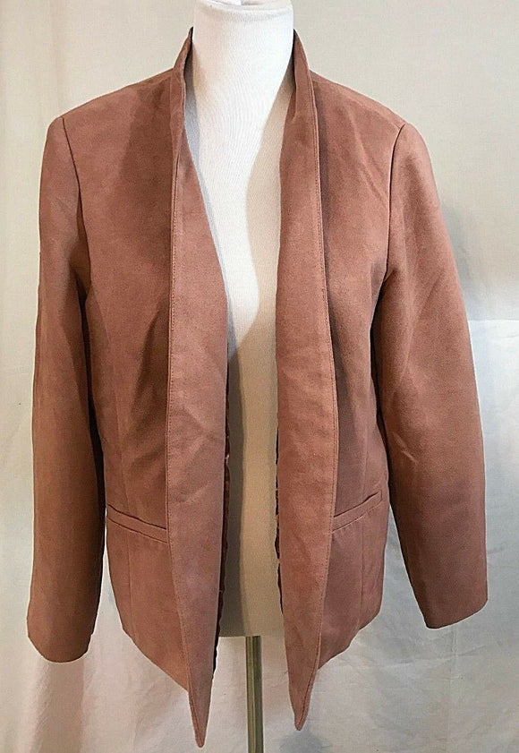 Women's Pink Suede Open Blazer Size 2 by Chico's (03260)