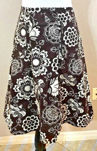 Women's Brown & White Floral Pleated Stretch Skirt Size XL by Lapis (04072)
