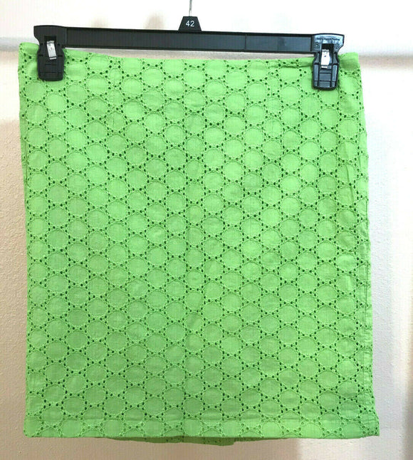 Women's Lime Green Eyelit Skirt Size 4 by Wili Smith (04305)