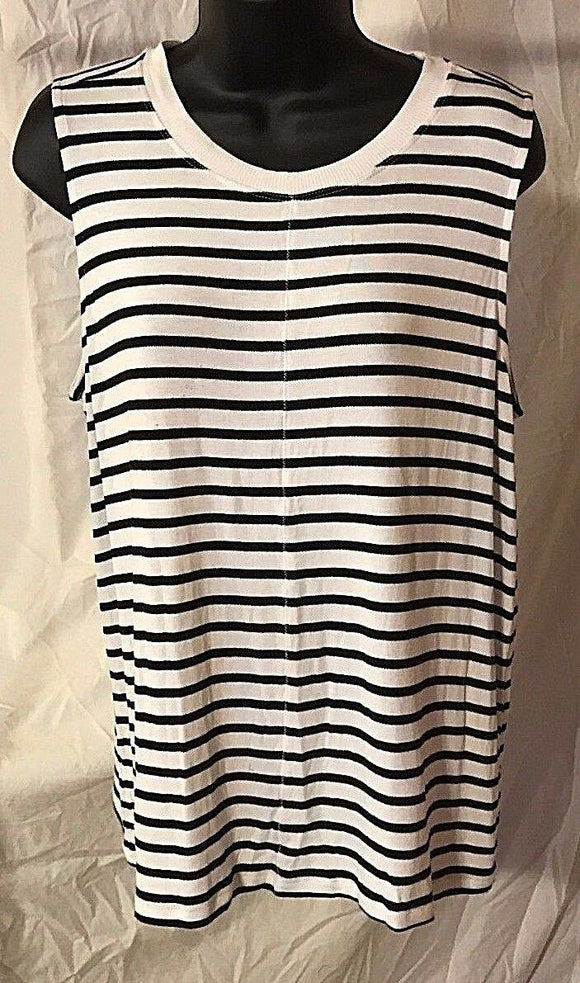 Women's Petite White & Black Striped Top Size LP by Ann Taylor LOFT (02535)