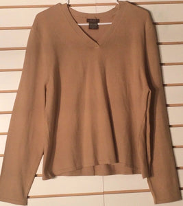 Women's Wool Blend Tan V-Neck Sweater Size XL by JBXR San Francisco (01573)