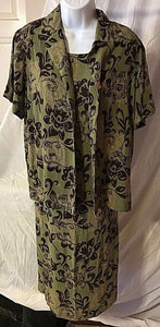 Women's Green & Brown Floral 2 PC Dress & Jacket by JM Collection (02492)
