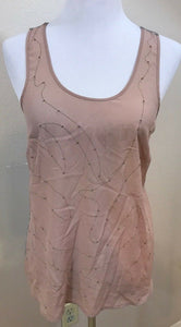 Women's Pink & Gray Beaded Embellished Top Size M by Petticoat Alley (03683)
