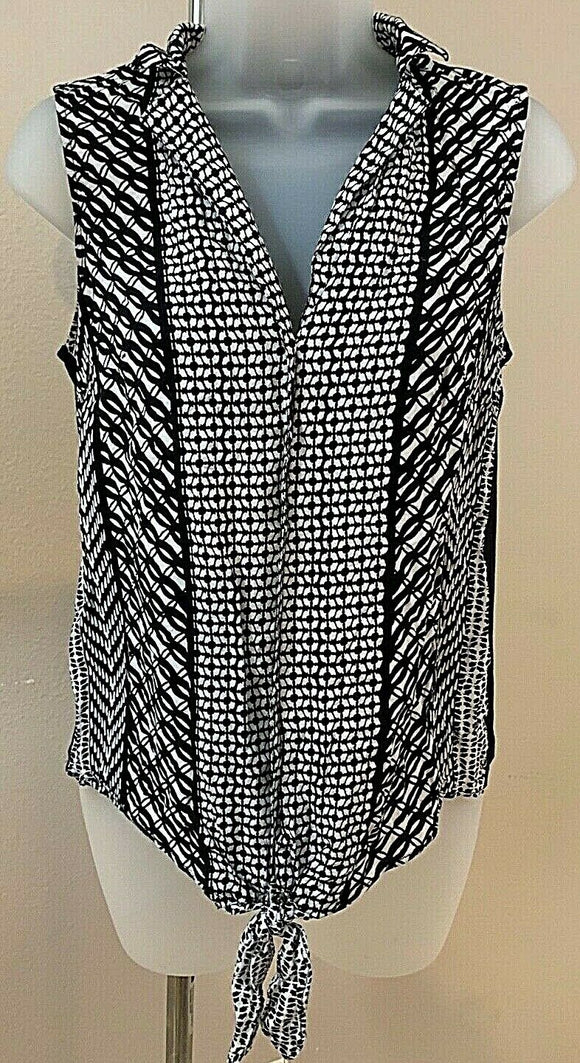Women's Black & White Button Down Tye Bottom Blouse Size S by Apt. 9 (04434)