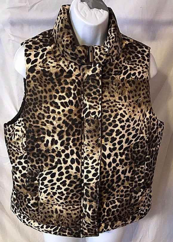 Women's Petite Brown Animal Print Sleeveless Jacket Size PL by Jones New York (02737)